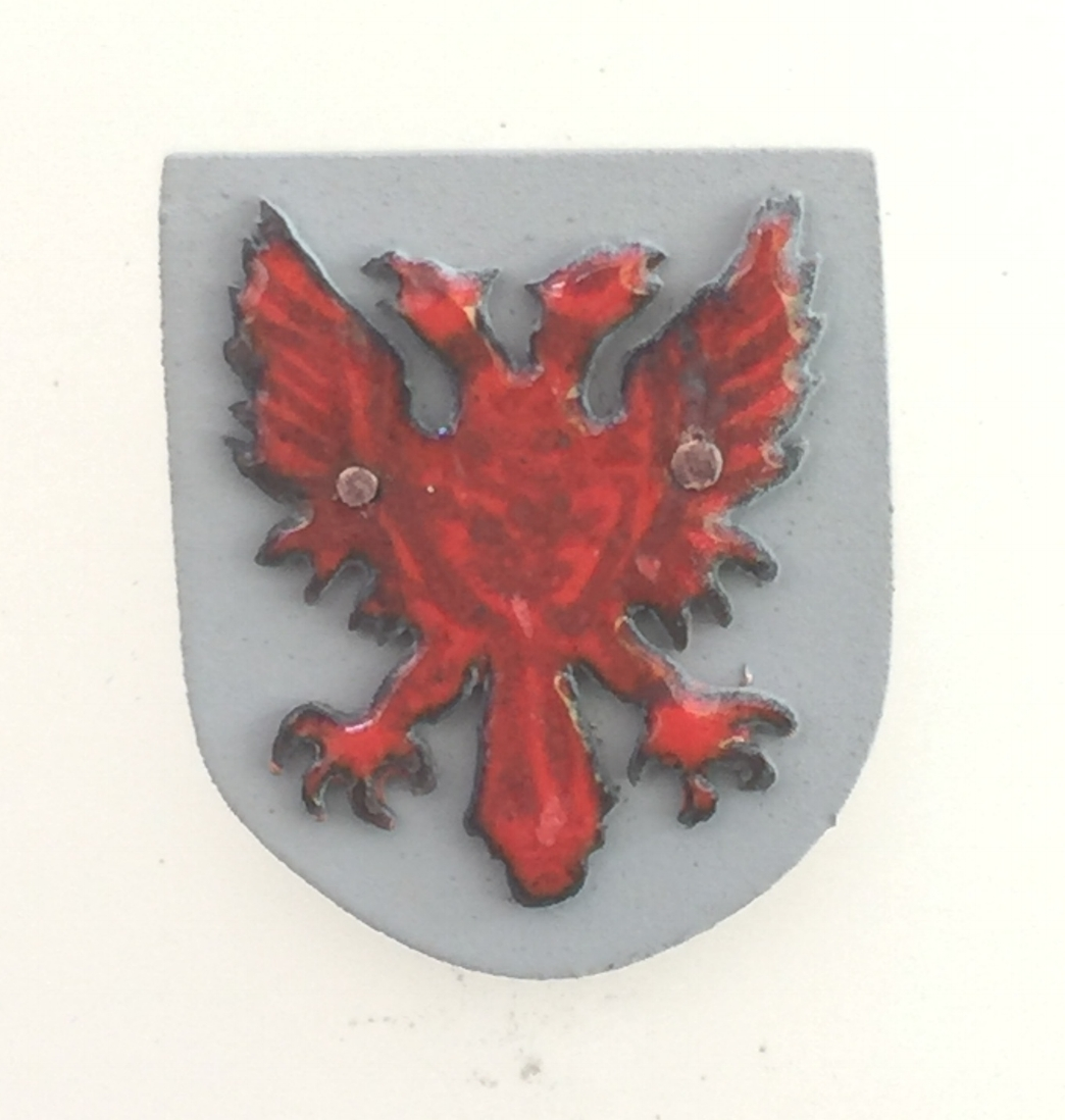 Red Double-Headed Eagle on Grey Shield