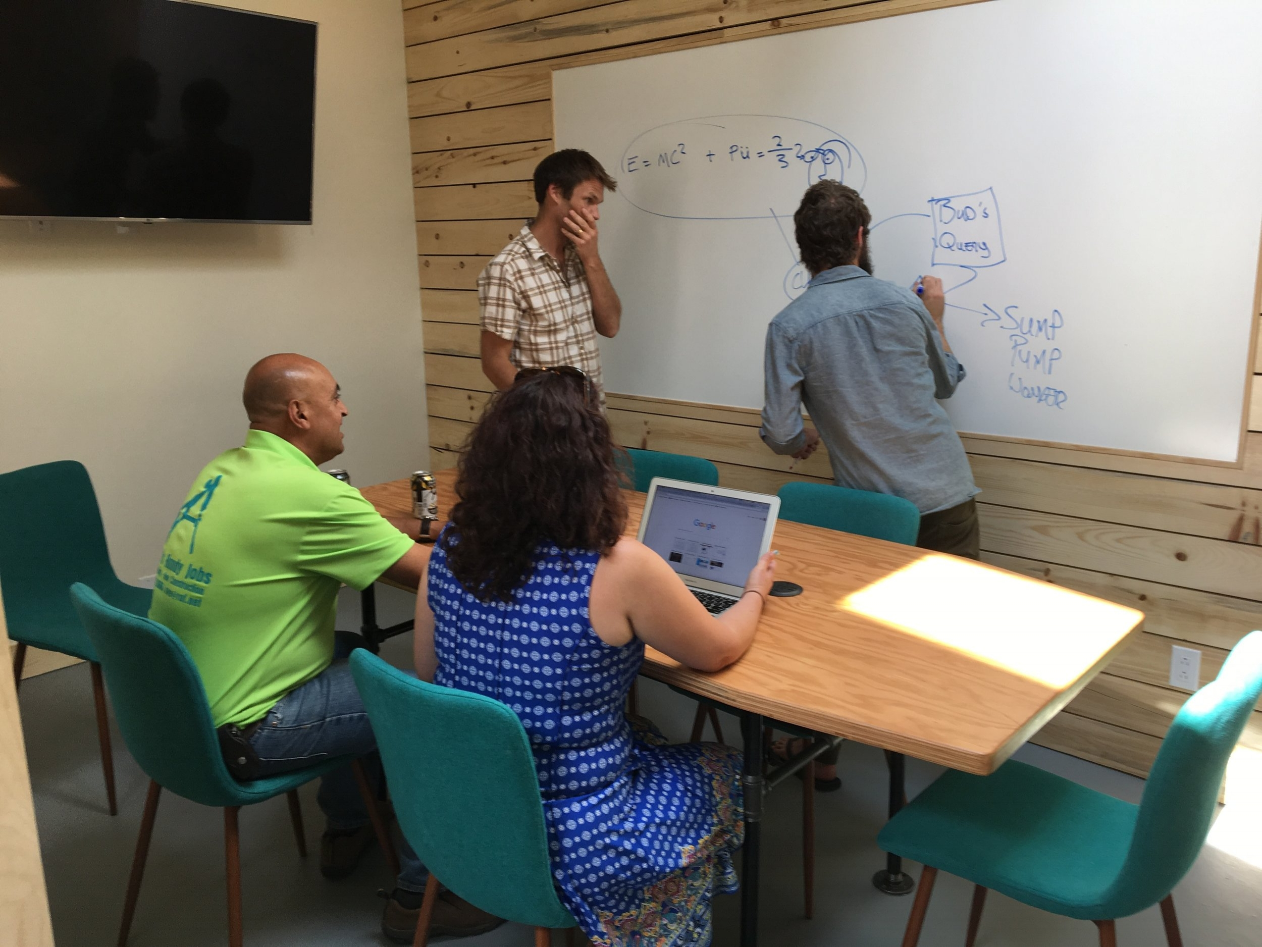 The Run - 8-10 guests seated around the table or15 guests presentation style without the table.Additionally there is:Ample natural light through a sunlight, which can also be shaded if desired.A 55in screen allows for video conference or presentations.The table has electrical outlets so powering laptops is never an issue.A large whiteboard$10-15/hr Monthly members (depending on membership) $18/hr non-members and day pass members
