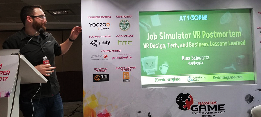 NASSCOM Game Dev Con '17 | Hyderabad India - 'Job Simulator' Postmortem: VR Design, Tech, and Business Lessons Learned