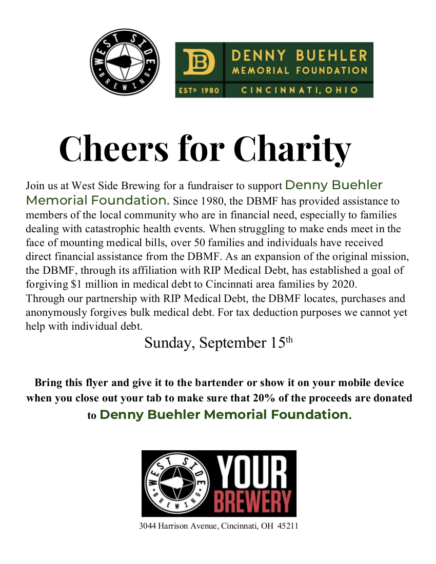 West Side Brewing Charity Denny Buehler Memorial Foundation.png