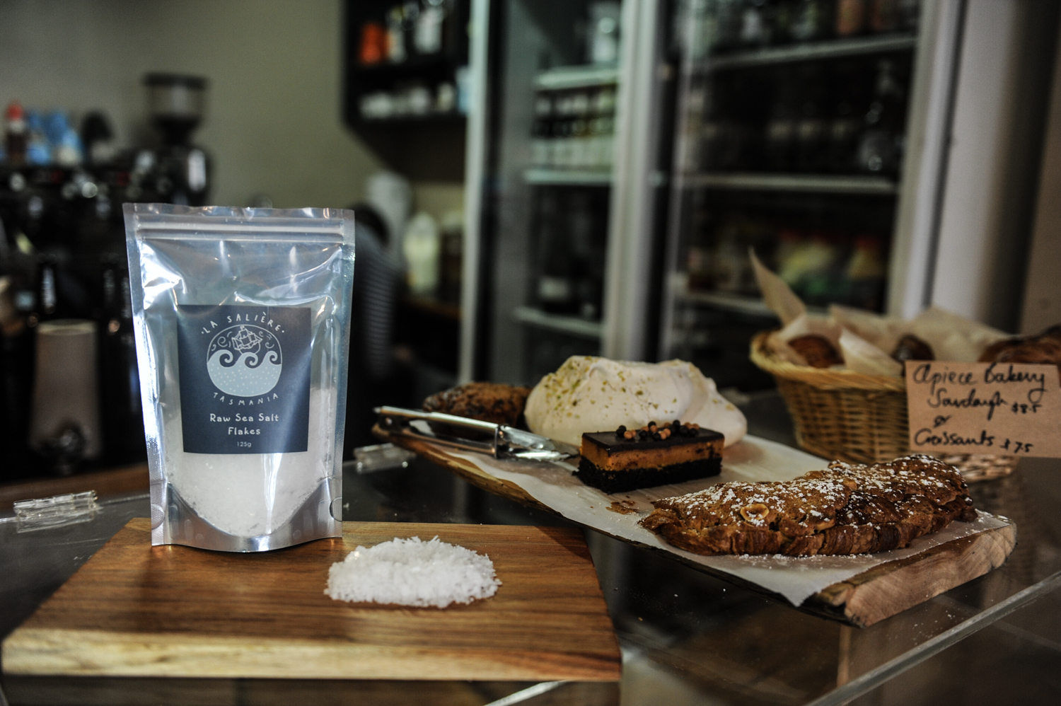 La Saliere raw Tasmanian sea salt flakes at Bryher Cafe Launceston