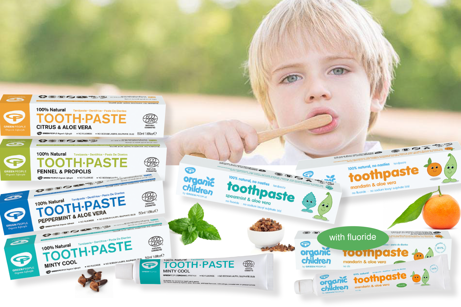 - All Toothpastes include Myrrh, Vitamin C and organic essential oils and combine carefully chosen natural ingredients that have excellent cleaning properties to keep mouth feeling fresh and healthy.Kind to our marine environment. FREE from harsh synthetic chemicals, gluten, microbeads, SLS and triclosan.Green People Toothpastes from $9.95