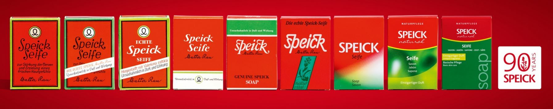 Evolution of Speick Natural Soap throughout the years.