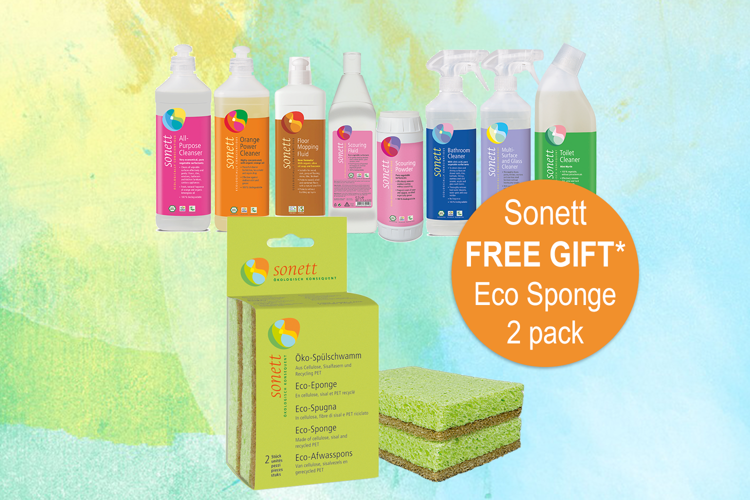 "Sonett FREE GIFT Eco Sponge 2 pack value $7.95 - Buy 2 products from the Sonett ""Cleaning Range"" and receive a FREE 2 pack Eco-Sponge as a gift. Type SONETTECOSPONGE in the Additional Information box during checkout.Offer available until 31st October and while stock lasts."