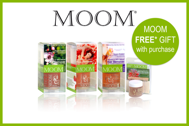 MOOM FREE* GIFT! - Buy any MOOM Organic Hair Removal Kit in Lavender, Rose or Tea Tree and receive a FREE MOOM Organic Face/Travel Hair Removal Kit 45g valued at $10.95. Type MOOMGIFT in the Additional Information box during checkout.Offer valid until 31st October and while stock lasts.
