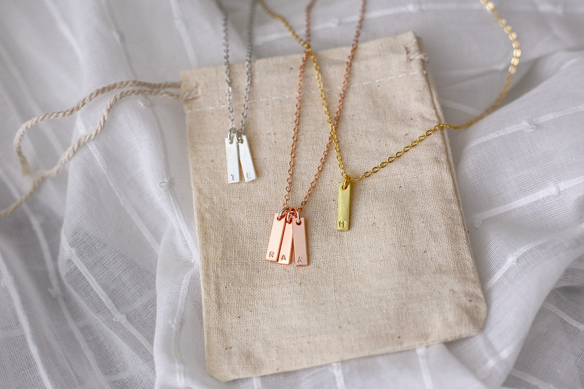Step One - Choose your piece! Mom Life Co. necklaces are available in Raw Brass, Rose Gold, or Antique Silver.