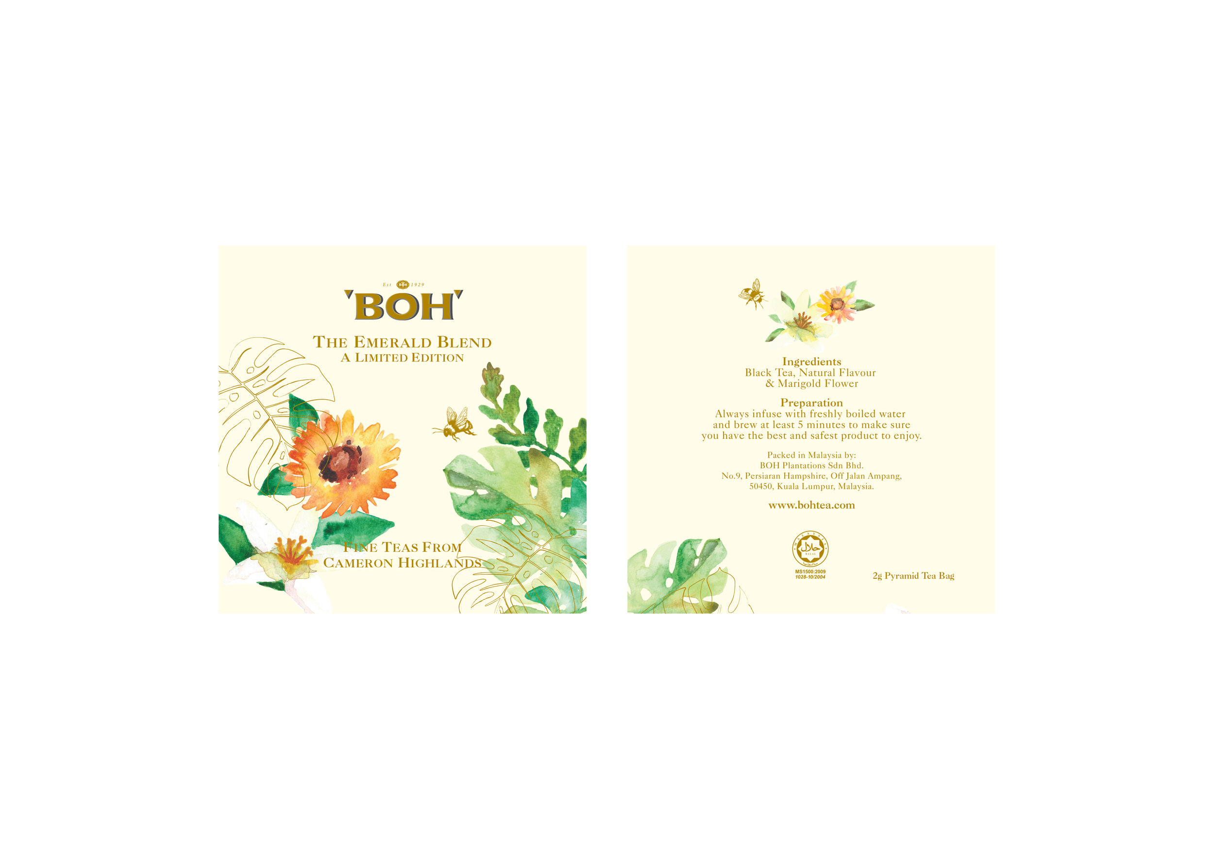 BOH tea sachet design