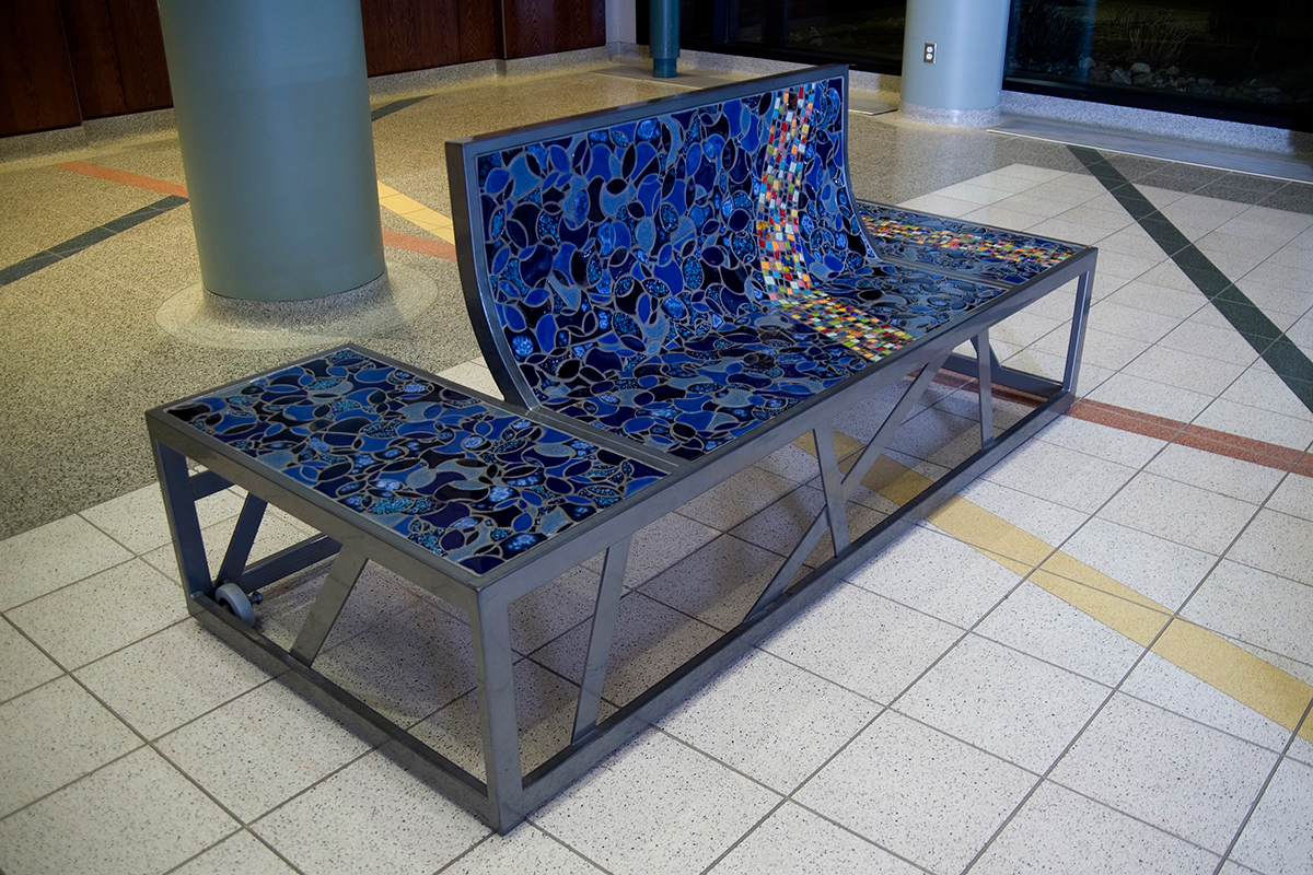 Ridgedale Library, Blue Bench