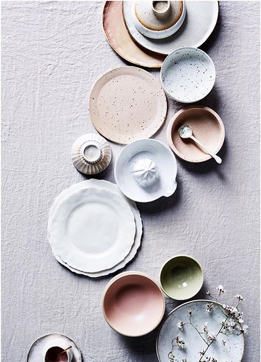 White dinner plate top right and pink pinch pot bottom left by Splendid Wren Ceramics.