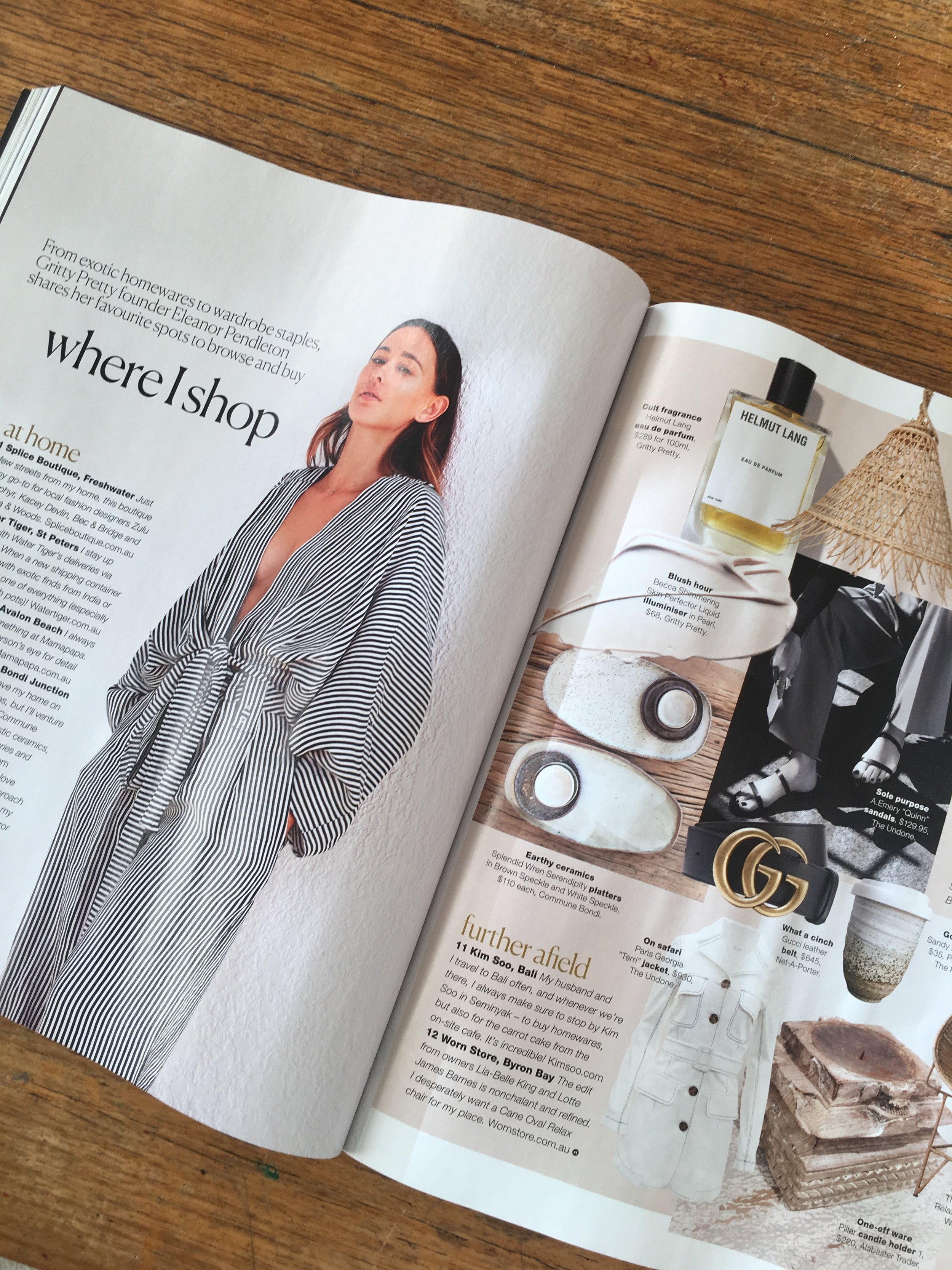 """REAL LIVING MAGAZINE SEPT 2018 - The September issue of Real Living magazine featured Gritty Pretty Founder Elanor Pendleton sharing her favourite shopping tips. One of her favourite places to shop is Commune Bondi where she loves the """"rustic ceramics""""."""
