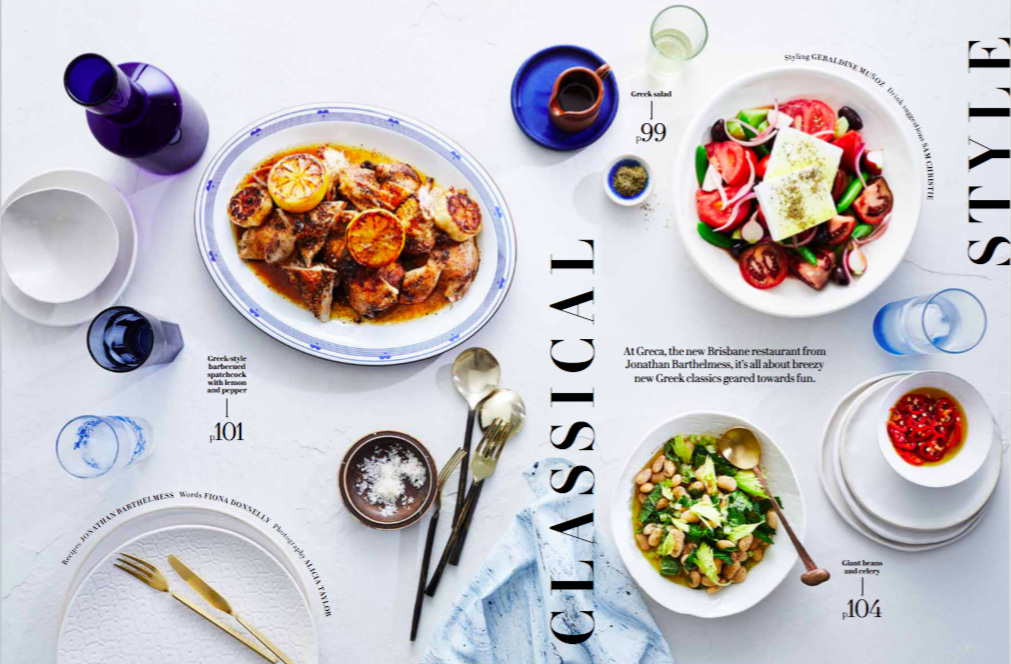 GOURMET TRAVELLER FEB 2019 - What a way to kick off the new year, with some of my work featured in this delicious looking feature on Greca, a new Brisbane restaurant. The white bowl and side plate far left are by me and the three side plates under the chilli far right. While I will always love speckles, sometimes white on white is just right! Click here for a closer look.