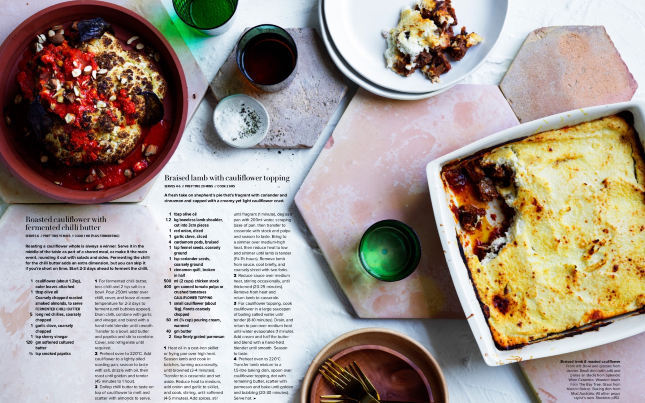 GOURMET TRAVELLER APRIL 2019 - This hearty looking spread in the April 2019 issue of Gourmet Traveller features two dinner plates and a salt dish made by me (top, centre). I can already tell that this is going to be the winter of the cauliflower for me!