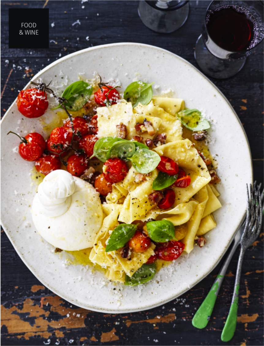 GOURMET TRAVELLER WINE APRIL 2019 - This roast tomato and burrata carbonara on a Splendid Wren Ceramics dinner plate in the April issue of Gourmet Traveller Wine magazine is making me hungry! I'm delighted to have my work included in this gorgeous magazine.