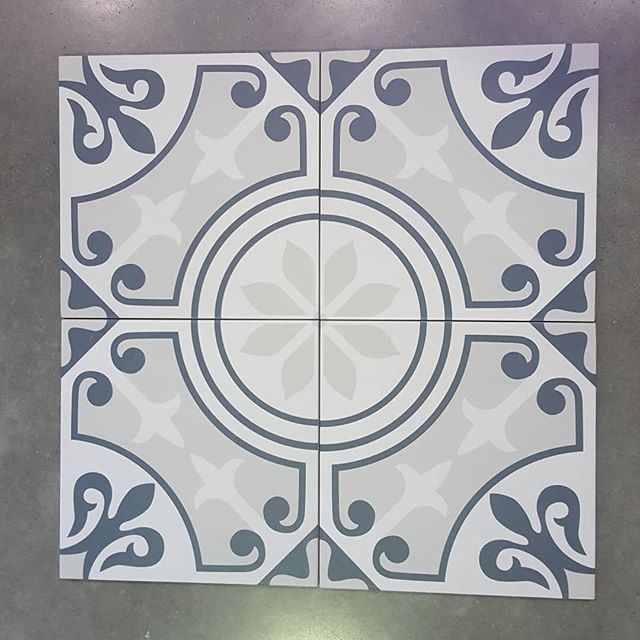 Encaustic floor tiles in 200x200 set of four available through @qmi_tile_and_stone  #encaustic #flooring #floortilesdesign #patternedtile #swbuilding #swbusiness #buliding #dunsborough #busselton #bathroom #laundryroom #featurewall