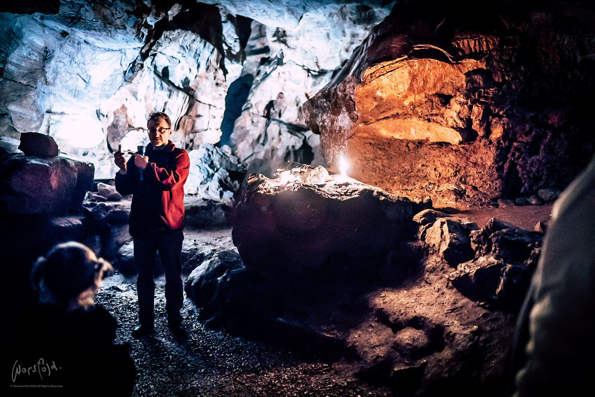 Down in the dark of Kents Cavern.