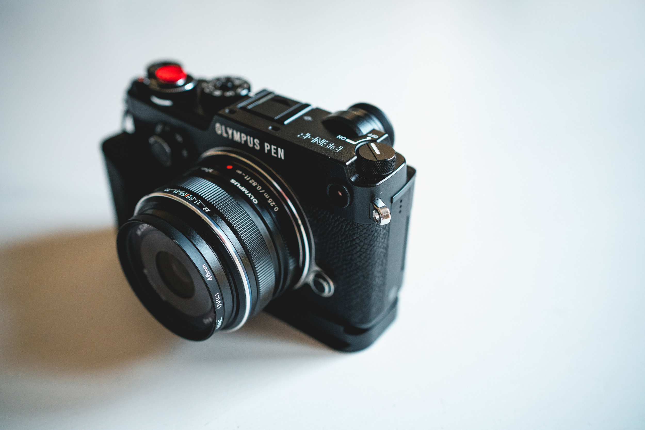 The Olympus Pen F with 17mm f1.8 attached.