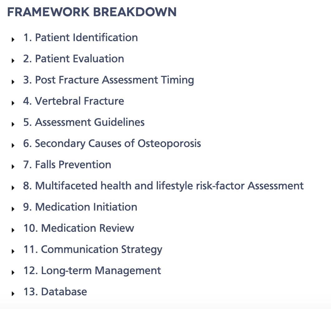 Figure 3:  Capture the Fracture framework breakdown ( https://capturethefracture.org/best-practice-framework )