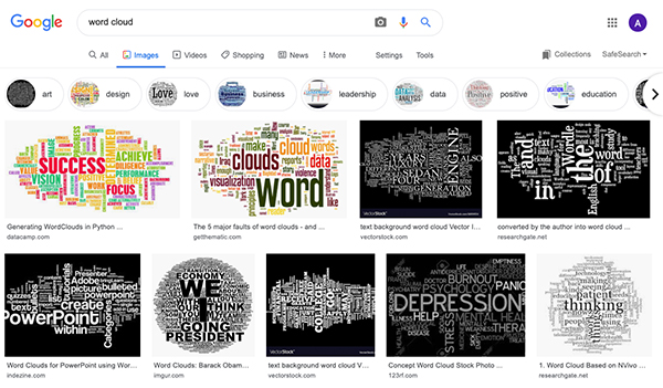 A Google search of 'word cloud'