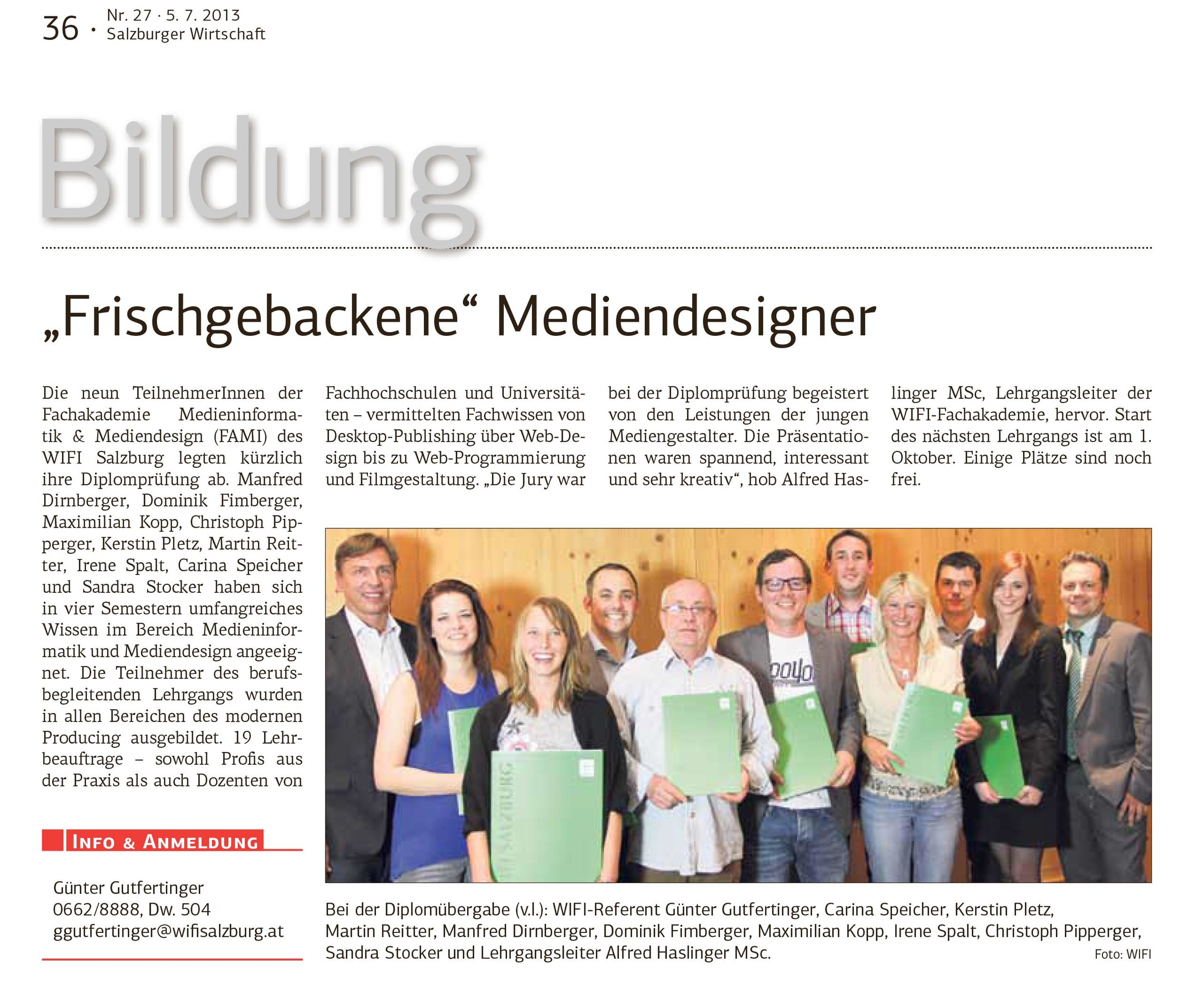 Abb.: Artikel Salzburger Wirtschaft