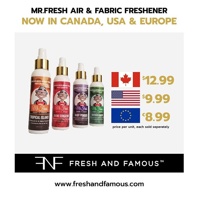 _ Mr.Fresh is available in Canada, United States and the Continent of Europe.😎✈️📦🌍 _
