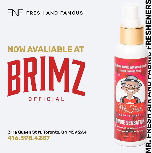 _ Mr. Fresh @mrfreshairfresheners is now available @brimzofficial in the heart of Toronto!⭐️ _ #FreshAndFamous #BRIMZ