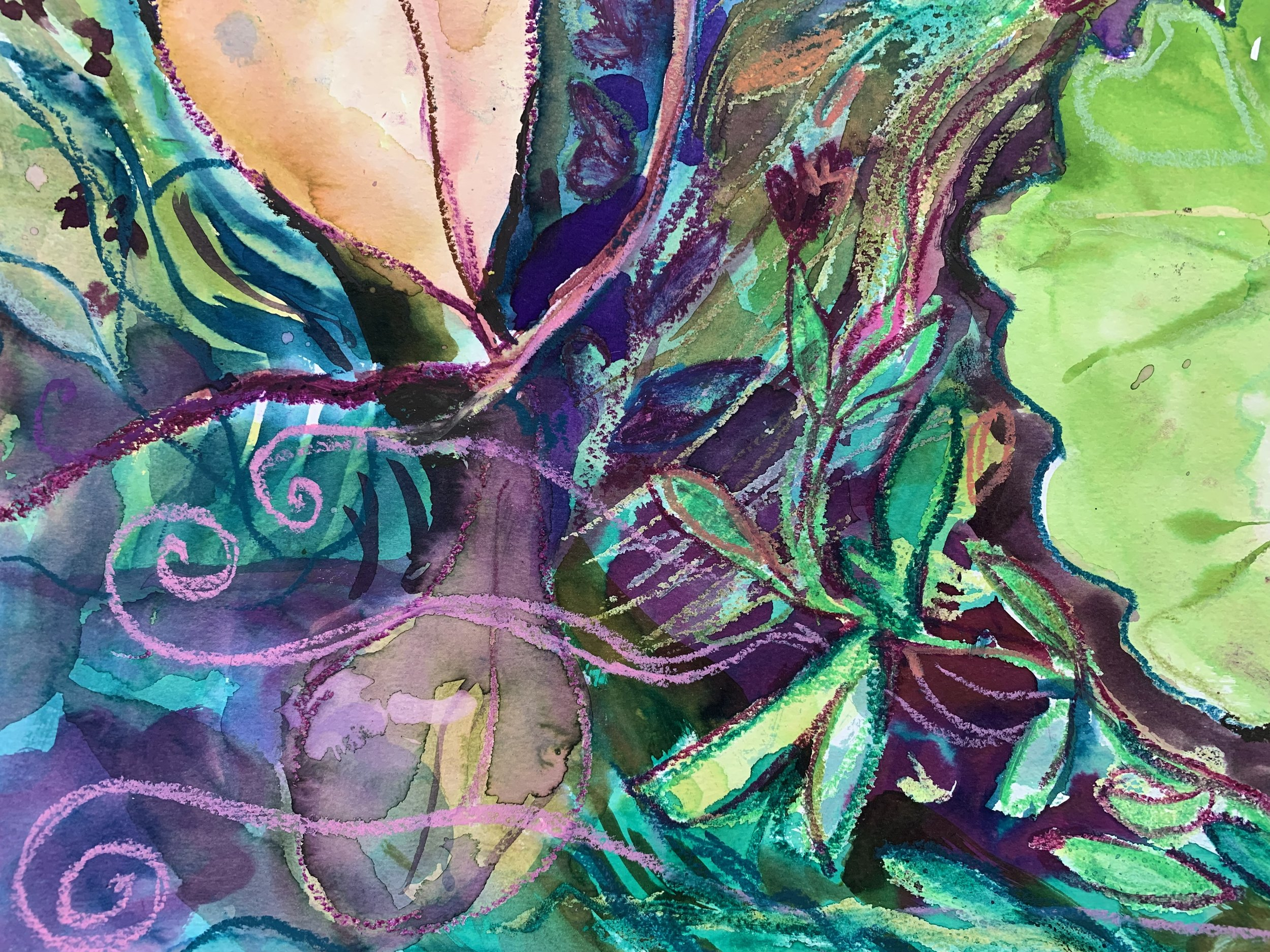 """Composition from """"Seeded,"""" watercolor and oil pastel on paper."""