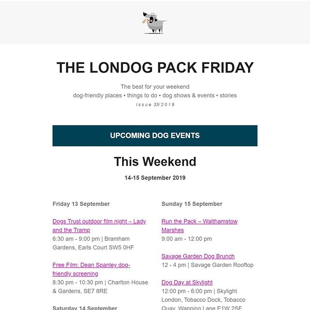 Thanks for the shoutout @thelondog. We hope to run with some of your network on Sunday! Lots of cool things for dogs to do this weekend in London. 🐶 . https://run-the-pack-walthamstow-marshes.eventbrite.co.uk (link in bio 👆). . . . . . #londondogs #dogevent #dogshelter #charity #friyay #thelondog #canicross #canicrossevent #dogsthatrun #grabyourticket #dogbffs #socialrunning #rundog #runthepackldn