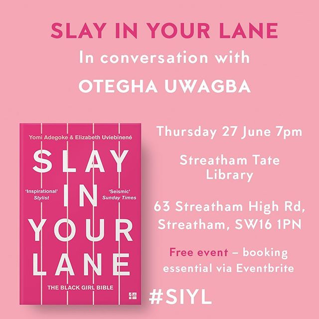 To celebrate the paperback launch of SLAY IN YOUR LANE, we're so excited to share that we'll be in conversation with the amazing @oteghauwagba! 🎉💃🏿Link in our bio for tickets. #SIYL  #LamLitFest19