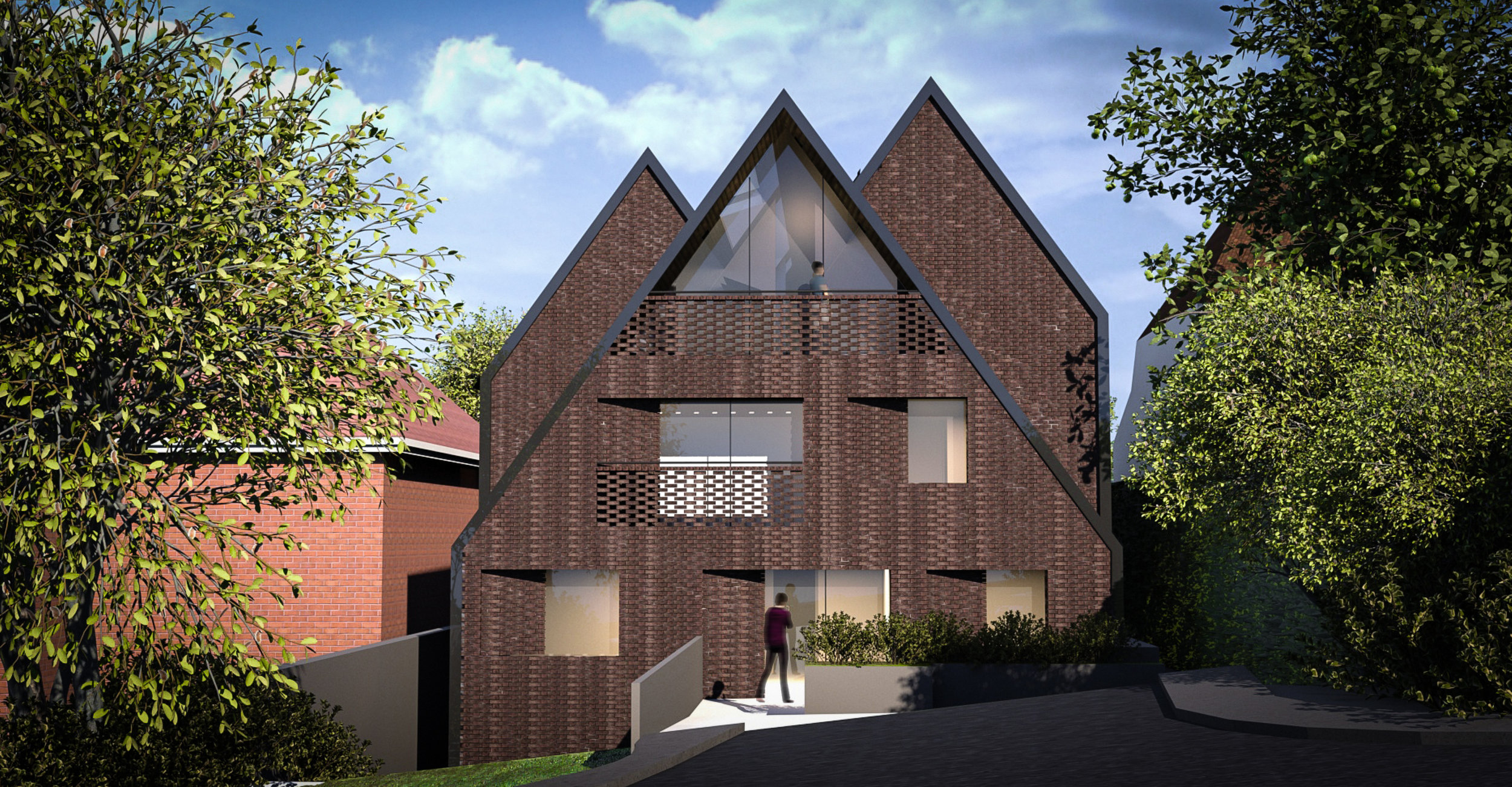© Copyright Studio DS 2018 - the Multi Home Smart Home Rear Elevation CGI