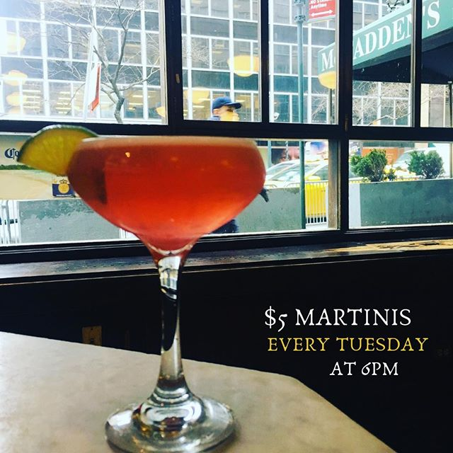 🍸Tuesday Boozeday! 🍸Enjoy $5 martinis every Tuesday from 6pm to 9pm! #bottomsup