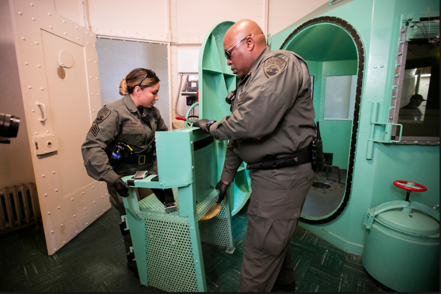 California Department of Corrections and Rehabilitation staff dismantle the death row gas chamber at San Quentin State Prison on March 13, 2019, in San Quentin, California.    CALIFORNIA DEPARTMENT OF CORRECTIONS AND REHABILITATION VIA GETTY IMAGES