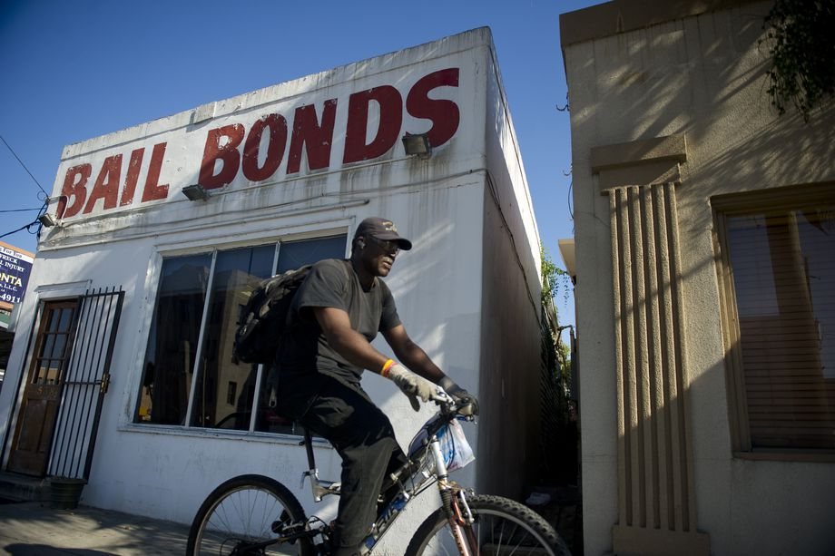 Bail bonds services, like the one pictured above in New Orleans in 2012, can be costly but allow people to stay out of jail before trial. Ann Hermes/The Christian Science Monitor via Getty Images