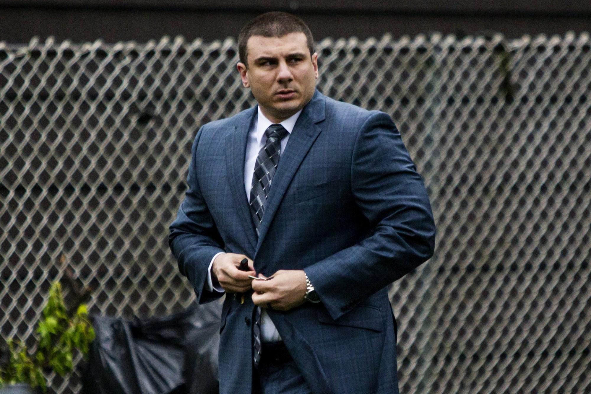 New York City police officer Daniel Pantaleo leaves his house on May 13, 2019, in Staten Island, New York.Eduardo Munoz Alvarez / AP file