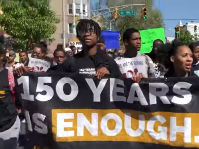 Protesters rally for youth prison reform in Newark, New Jersey on May 18, 2019. (Photo via NJISJ)