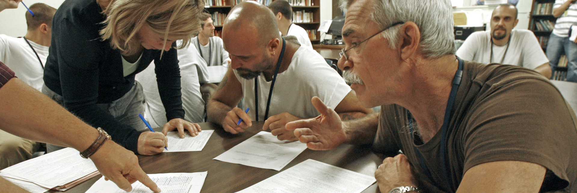 Prisoners at the Marble Valley Regional Correctional Facility in Rutland, Vermont, register to vote in 2008. Only two states, Vermont and Maine allow people to vote while they're in prison.TOBY TALBOT/ASSOCIATED PRESS