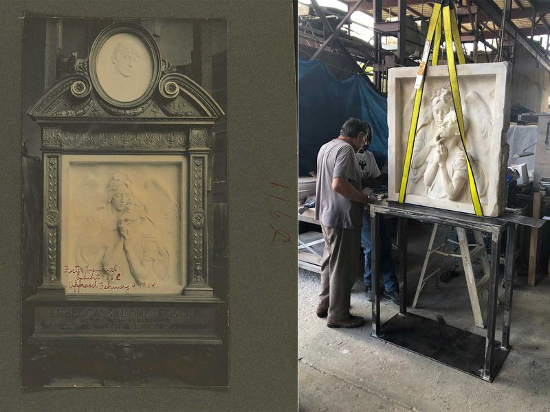 The Rebecca Salome Foster monument pictured before (left) and after (right) restoration (Courtesy of the Municipal Art Society of New York)