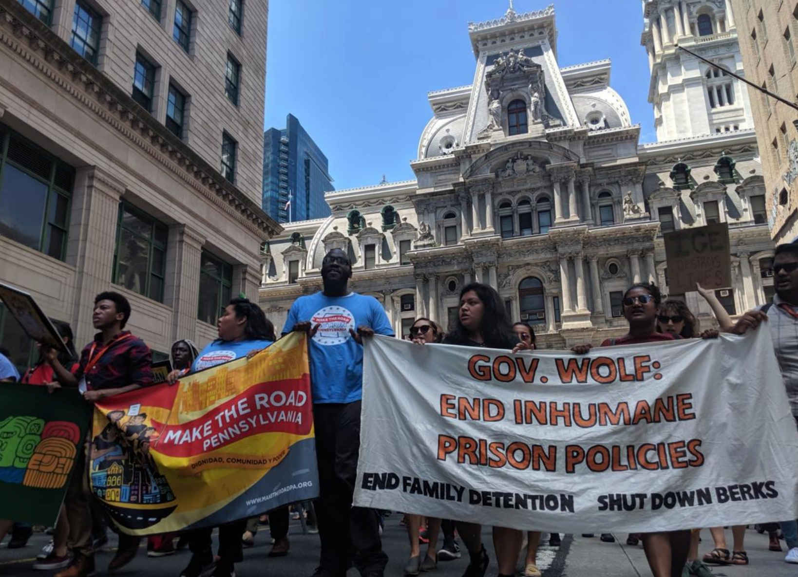 Protesters march outside City Hall on Friday. — PHILADELPHIA TRIBUNE PHOTOs/MICHAEL D'ONOFRIO