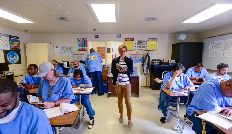 Cynthia Coleman leads a class at San Quentin State Prison, in San Quentin State Prison Thursday. (Jeremy Portje/ Marin Independent Journal)