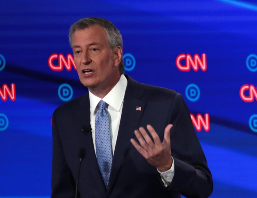 New York City Mayor Bill de Blasio at Wednesday's presidential debate  Scott Olson/Getty Images