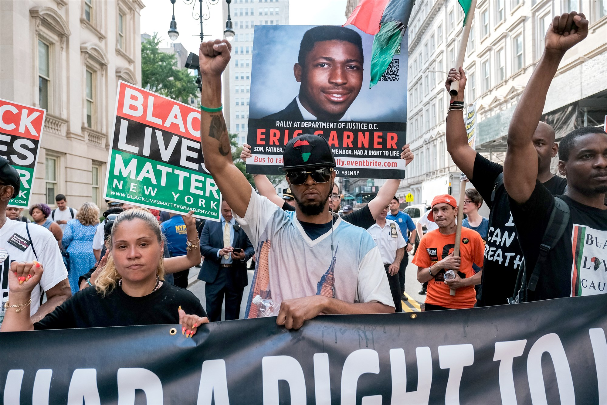 Members of Black Lives Matter protest on the fifth anniversary of the death of Eric Garner, a day after federal prosecutors announced their decision not to prosecute NYPD Officer Daniel Pantaleo or other officers on charges related to his death, in New York on July 17, 2019.