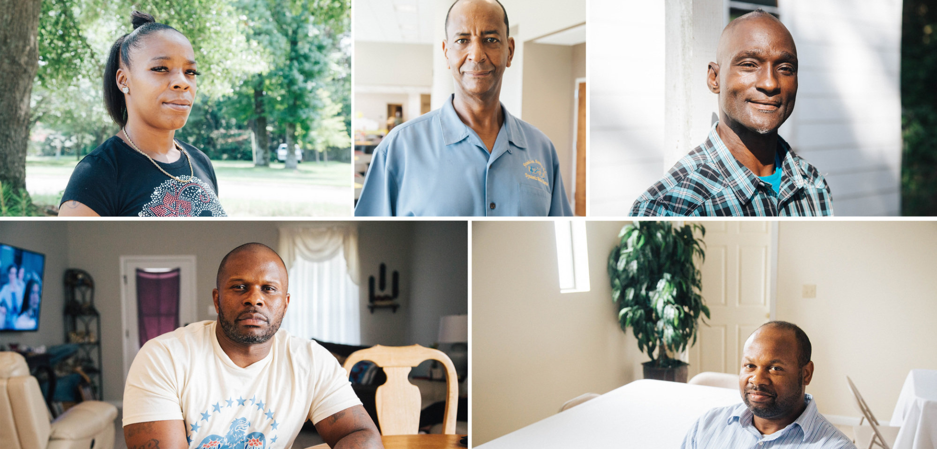 Clockwise from top left: Patrice Sparks, Clint Williams, Lionel Paul Dugas, Charles Blue and Detric Linner. PHOTOGRAPHS BY AKASHA RABUT FOR THE MARSHALL PROJECT