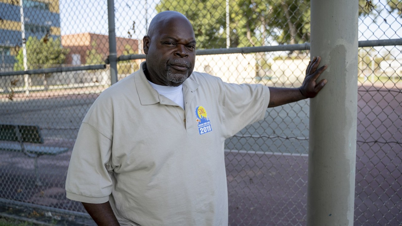 Larry Sanders, 58, a gang interventionist contracted by the city of Los Angeles, was stopped by the LAPD's gang task where he works and added to the city's gang database.Jim Seida / NBC News