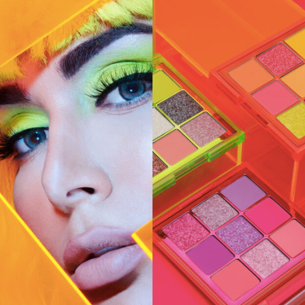 New Huda Beauty Neon Obsessions eyeshadow palettes are vivid and colorful. Image source: Huda Beauty