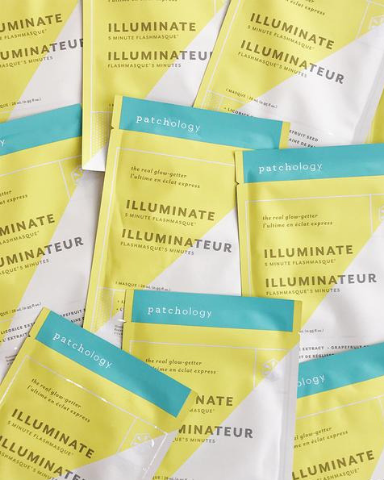 Patchology FlashMasque Illuminate 5 Minute Sheet Mask brightens dull uneven skin, and it only requires 5 minutes of your time. Image source: Patchology