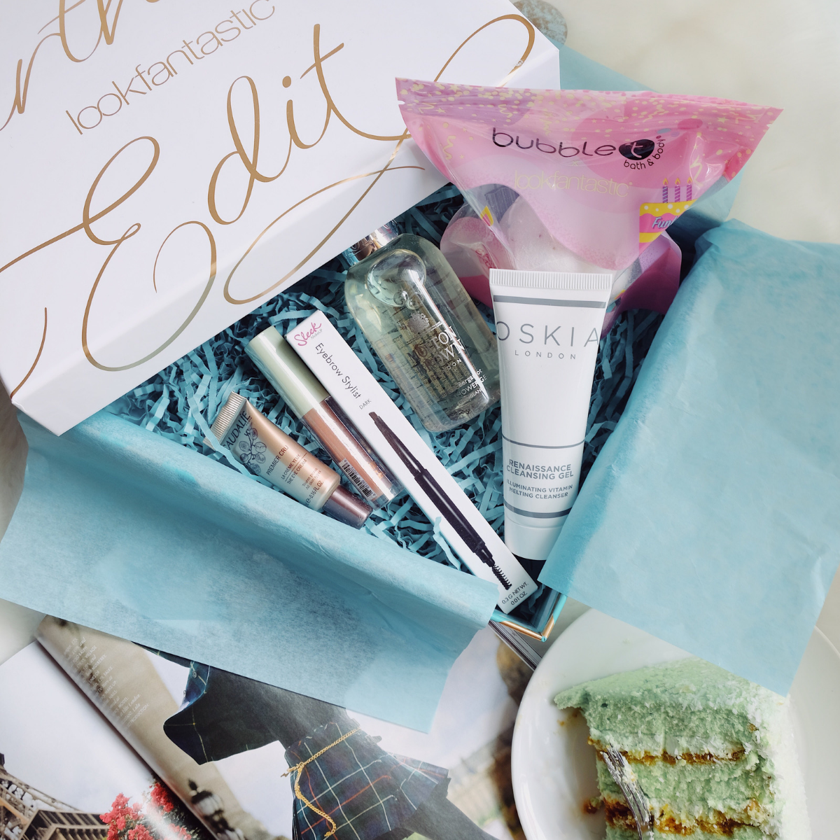 Check out this month's beauty box goodies. Image source:  @Layersofskins