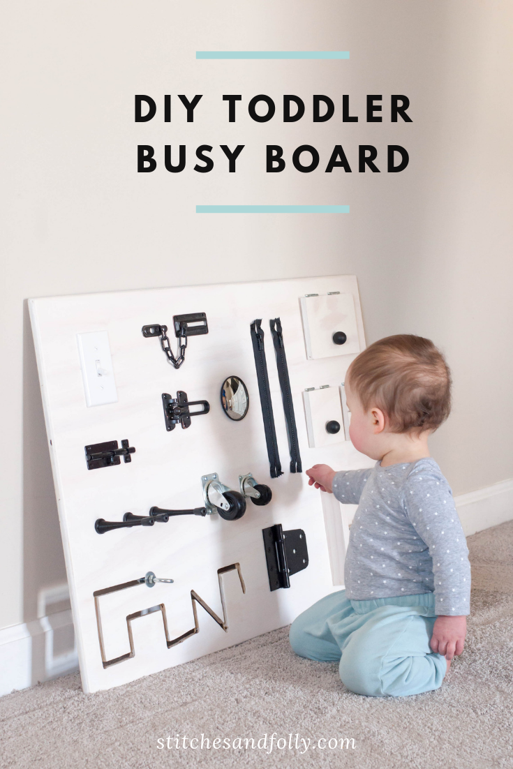 Our DIY toddler busy board for our 1.5 year old