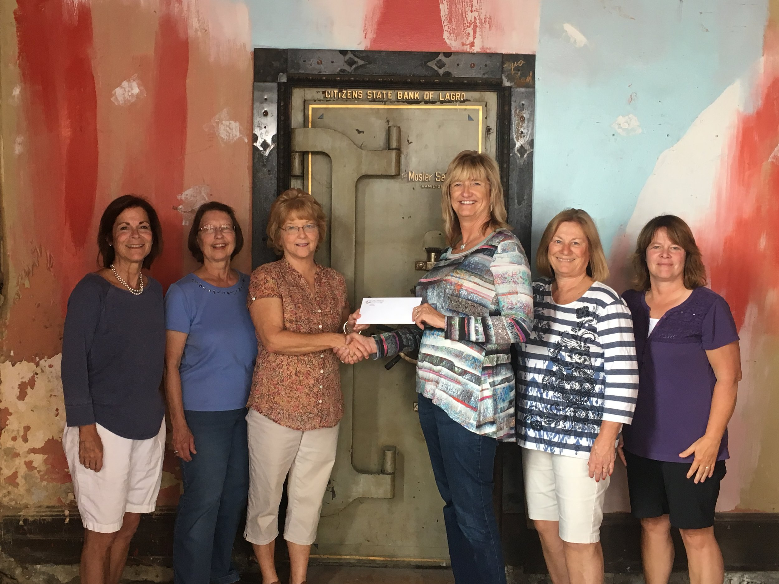 The Lagro Canal Foundation receives a grant from Operation Round. From left to right: Jane Swanquist, Deborah Strange, Lagro Canal Foundation Vice President, Monica Sparling, Operation Round Up Trustee, Beth Gillespie, Lagro Canal Foundation President, Lavonne Sparling and Deb Conner.