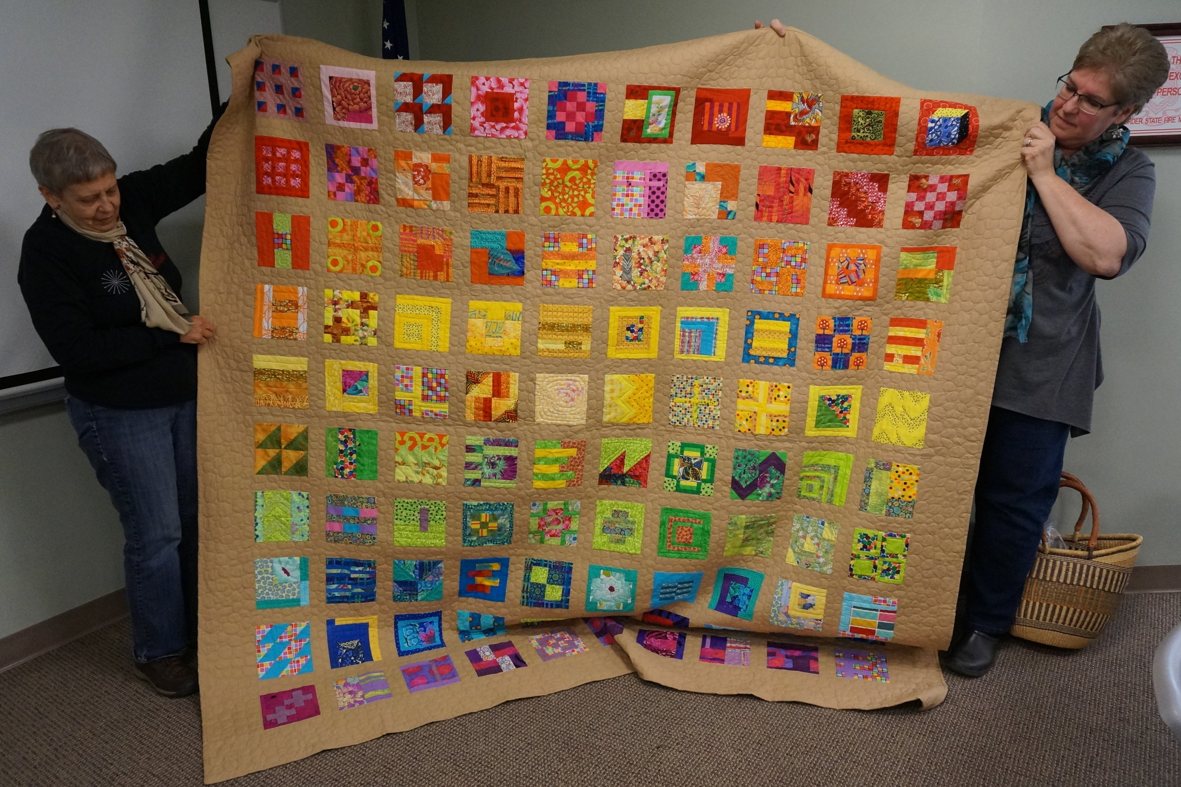 - Jackie's recent work is a very colorful rendition of Tula Pink's 100 Modern Blocks.