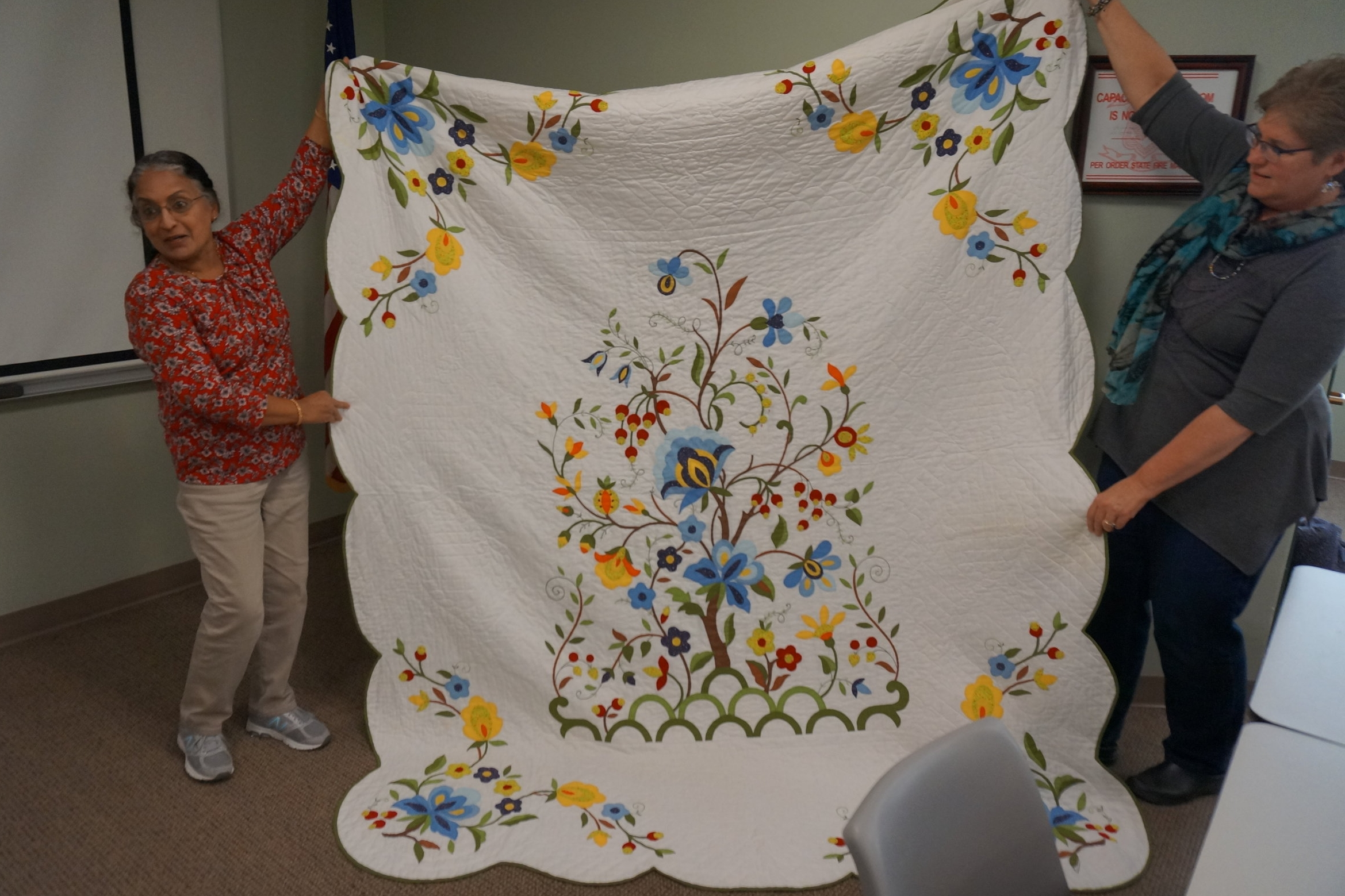 - Indira learned to quilt when she moved to the U.S. and was inspired to make a quilt that took two years to hand applique.