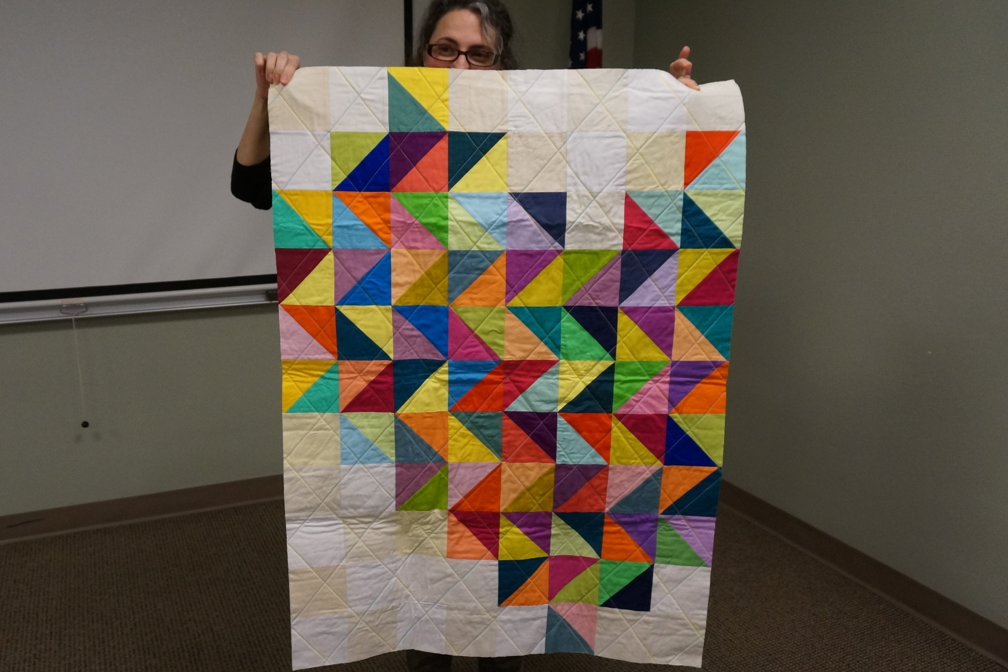 - Karen's latest creation is a pixelated half heart—can you see it?
